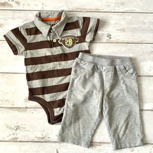 Carters 9m Baby Boy Outfit Polo Onesie Gray Brown
